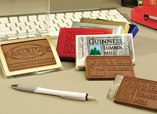 engraved chocolate Business cards